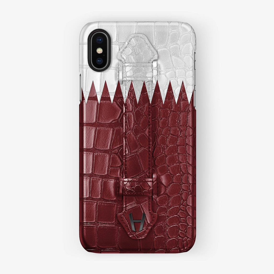 Alligator [iPhone Finger Case Flag of Qatar] [finishing:black] - Hadoro
