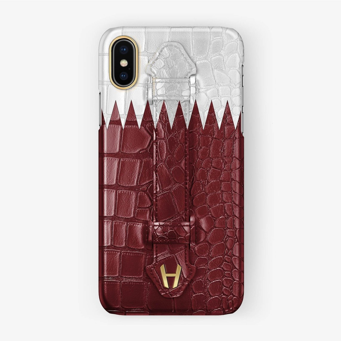 Alligator [iPhone Finger Case Flag of Qatar] [model:iphone-xsmax-case] [finishing:yellow-gold]