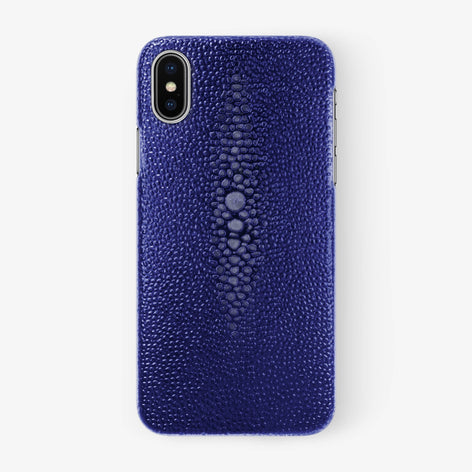Blue Stingray iPhone Case for iPhone X finishing stainless steel - Hadoro Luxury Cases