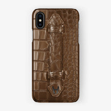 Brown Alligator iPhone Finger Case for iPhone X finishing black - Hadoro Luxury Cases