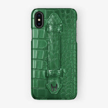 Green Alligator iPhone Finger Case for iPhone X finishing black - Hadoro Luxury Cases