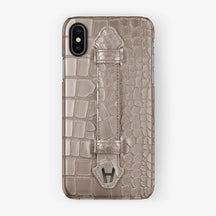Alligator Finger Case iPhone X/Xs | Latte - Black without-personalization