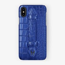 Peony Blue Alligator iPhone Finger Case for iPhone X finishing black - Hadoro Luxury Cases