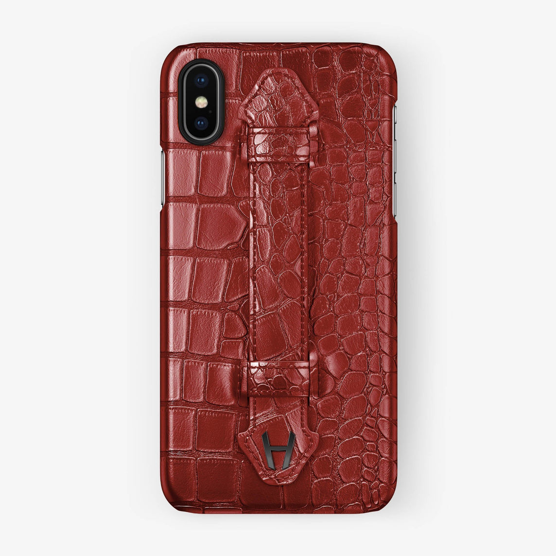 Red Alligator iPhone Finger Case for iPhone X finishing black - Hadoro Luxury Cases