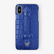 Peony Blue Alligator iPhone Finger Case for iPhone XS Max finishing yellow gold - Hadoro Luxury Cases