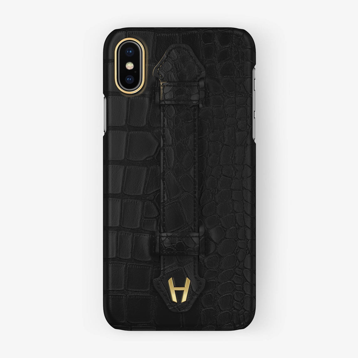 Alligator Finger Case iPhone X/Xs | Phantom Black - Yellow Gold without-personalization