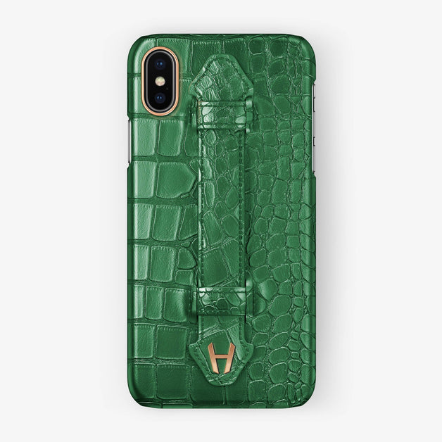 Alligator Finger Case iPhone X/Xs | Green - Rose Gold without-personalization