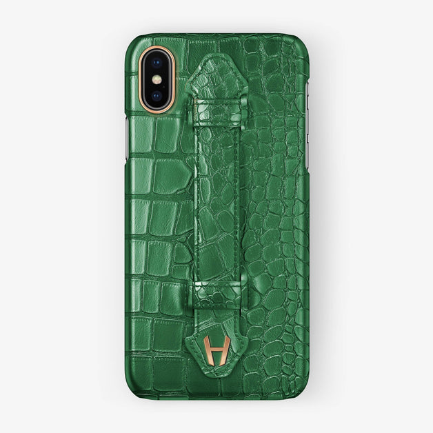 Alligator Finger Case iPhone Xs Max | Green - Rose Gold without-personalization