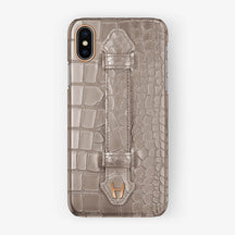 Alligator Finger Case iPhone X/Xs | Latte - Rose Gold without-personalization