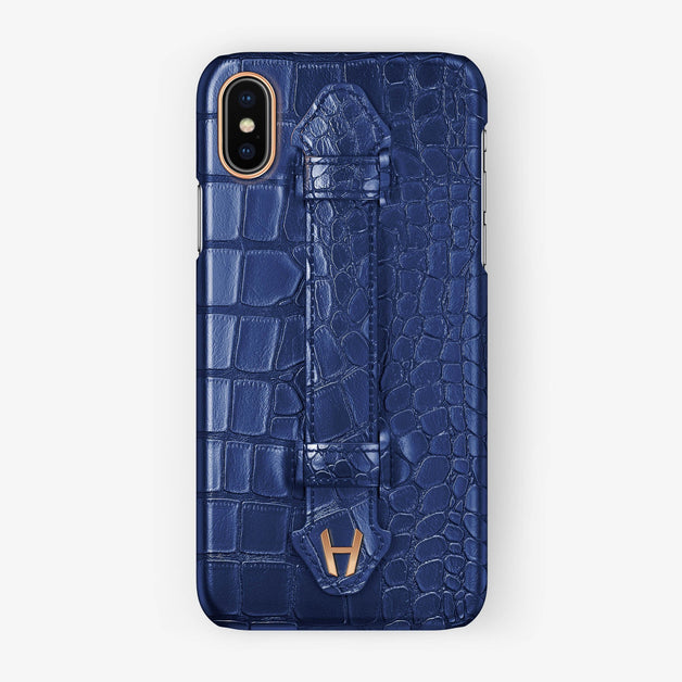 Alligator Finger Case iPhone X/Xs | Navy Blue - Rose Gold without-personalization