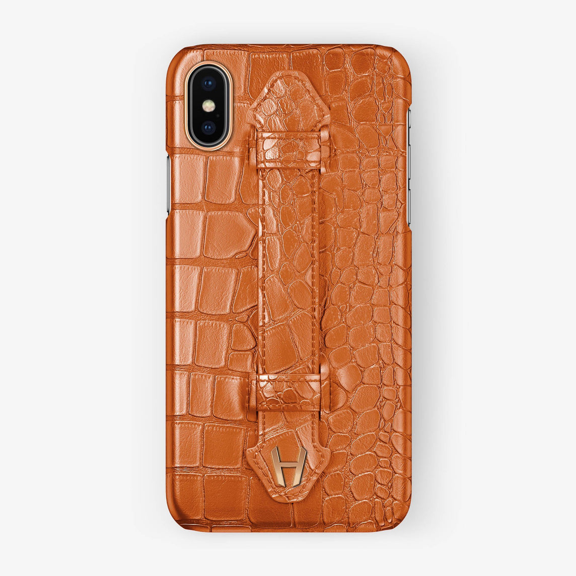 Alligator Finger Case iPhone Xs | Orange - Rose Gold without-personalization