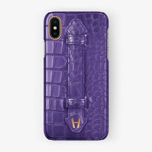 Purple Alligator iPhone Finger Case for iPhone X finishing rose gold - Hadoro Luxury Cases