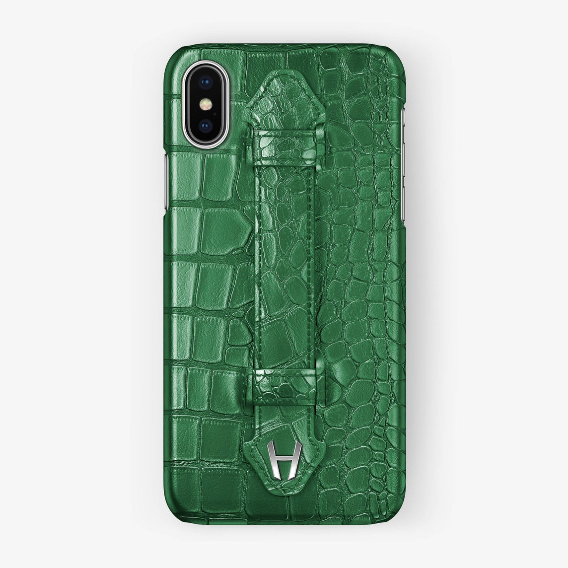 Green Alligator iPhone Finger Case for iPhone X finishing stainless steel - Hadoro Luxury Cases
