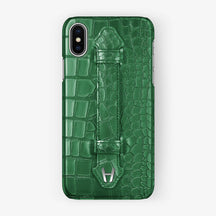 Alligator Finger Case iPhone X/Xs | Green - Stainless Steel without-personalization