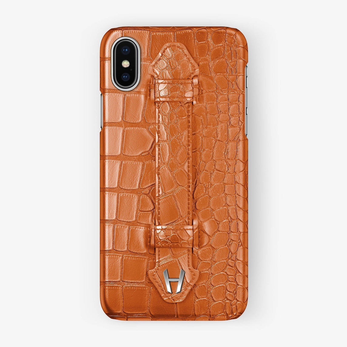 Orange Alligator iPhone Finger Case for iPhone XS Max finishing stainless steel - Hadoro Luxury Cases