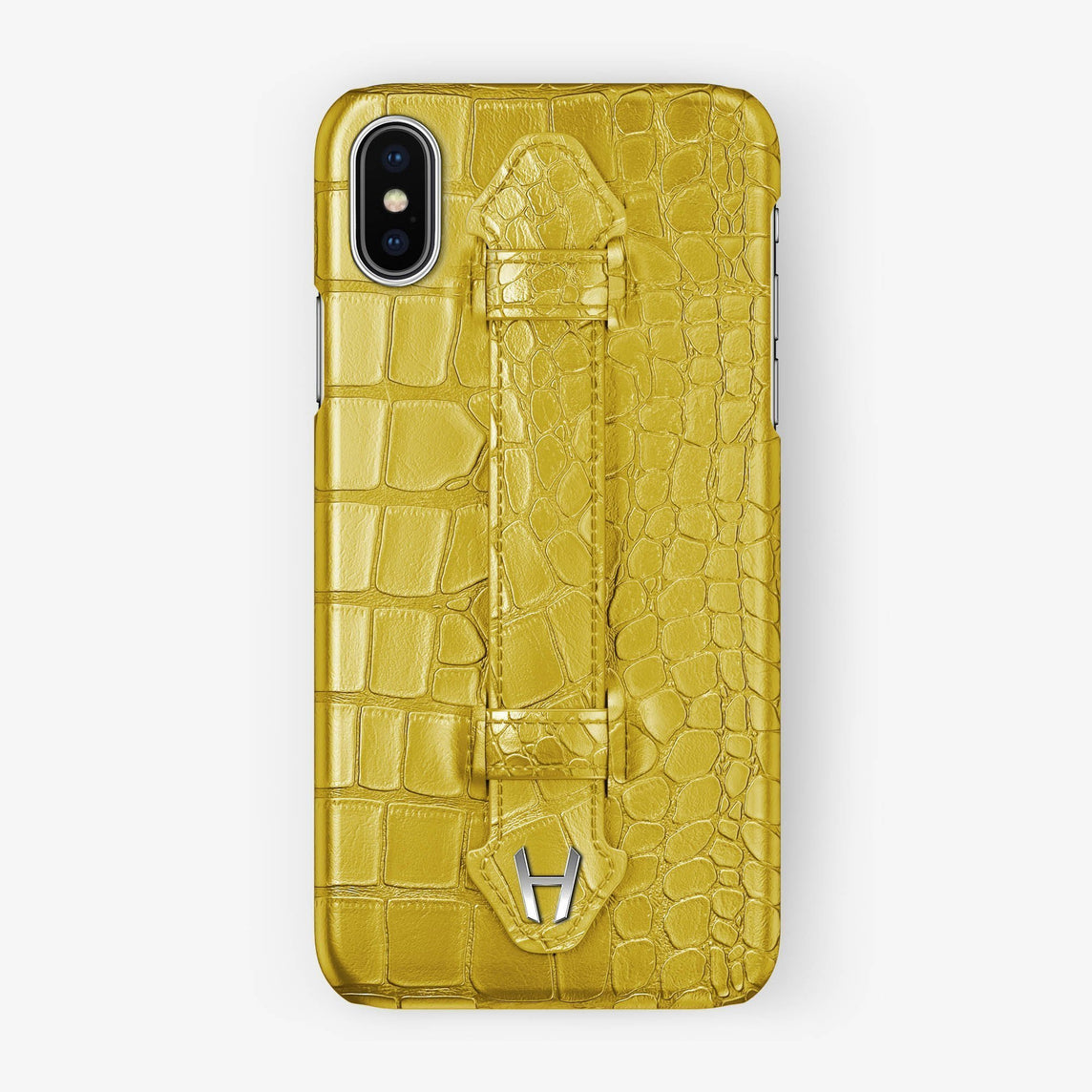 Yellow Alligator iPhone Finger Case for iPhone XS Max finishing stainless steel - Hadoro Luxury Cases