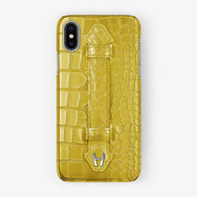 Alligator Finger Case iPhone Xs | Yellow - Stainless Steel without-personalization