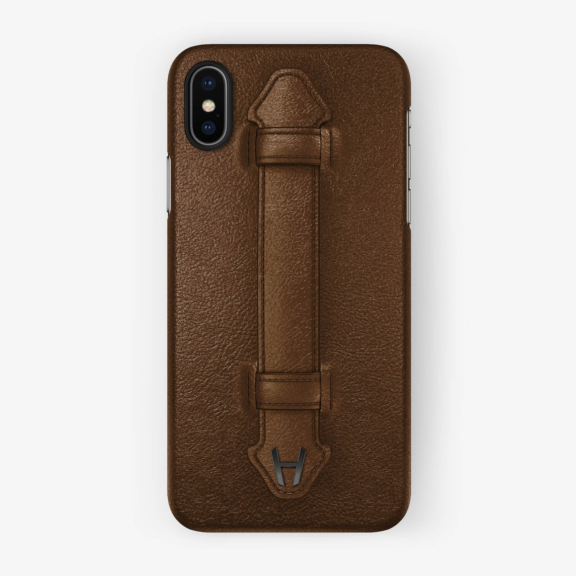 Calfskin Finger Case iPhone X/Xs | Brown - Black without-personalization