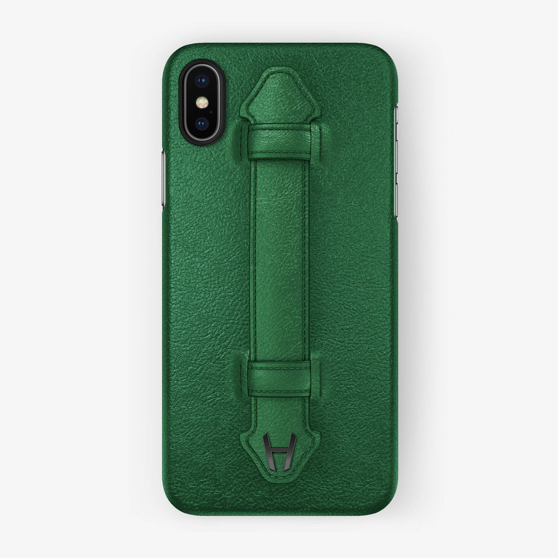 Calfskin Finger Case iPhone X/Xs | Green - Black without-personalization