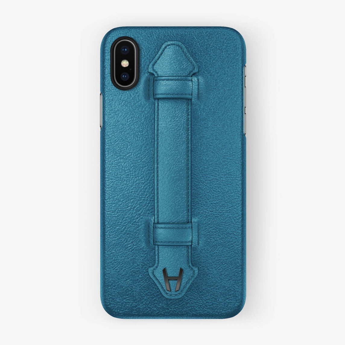 Calfskin Finger Case iPhone Xs Max | Teal - Black without-personalization