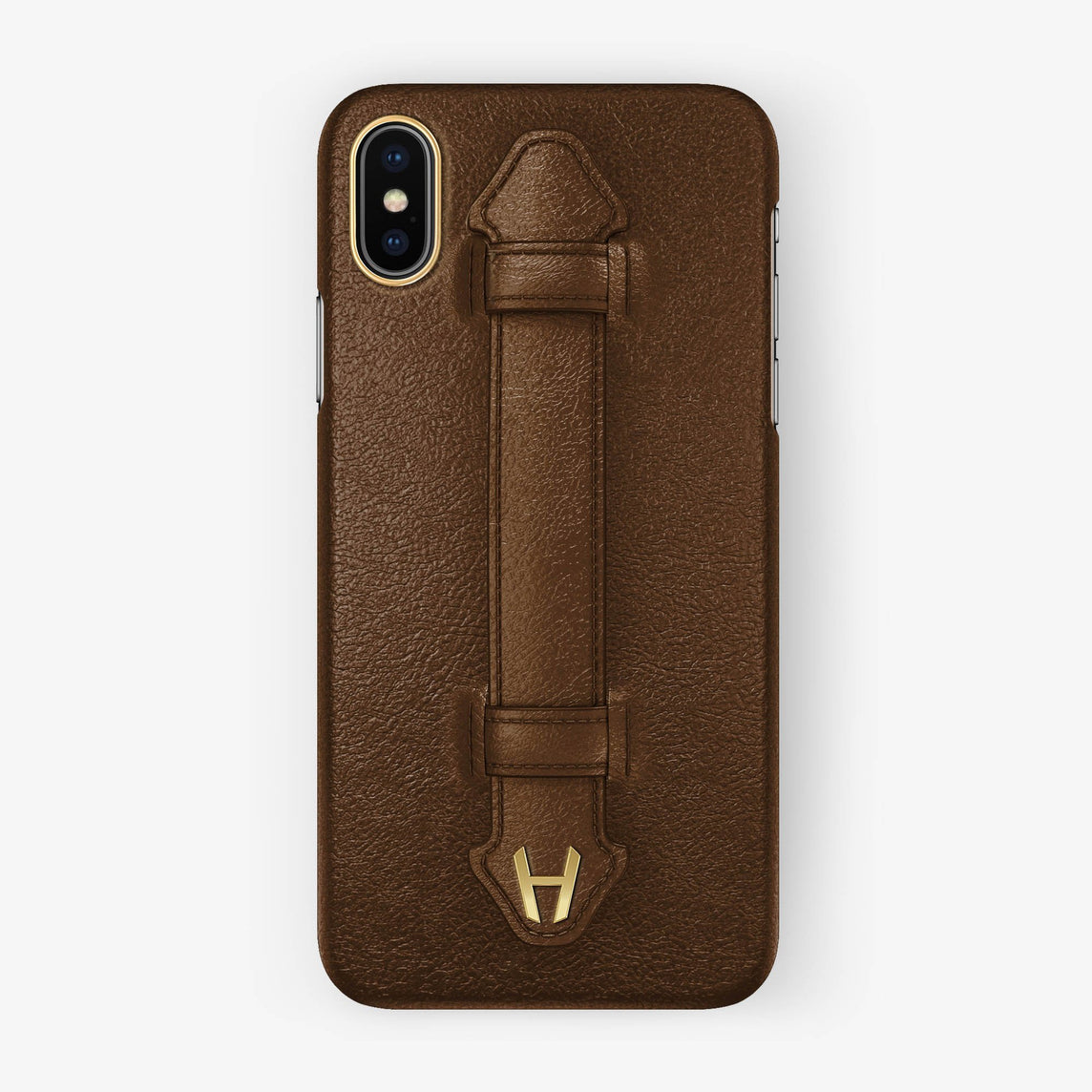 Calfskin Finger Case iPhone X/Xs | Brown - Yellow Gold without-personalization