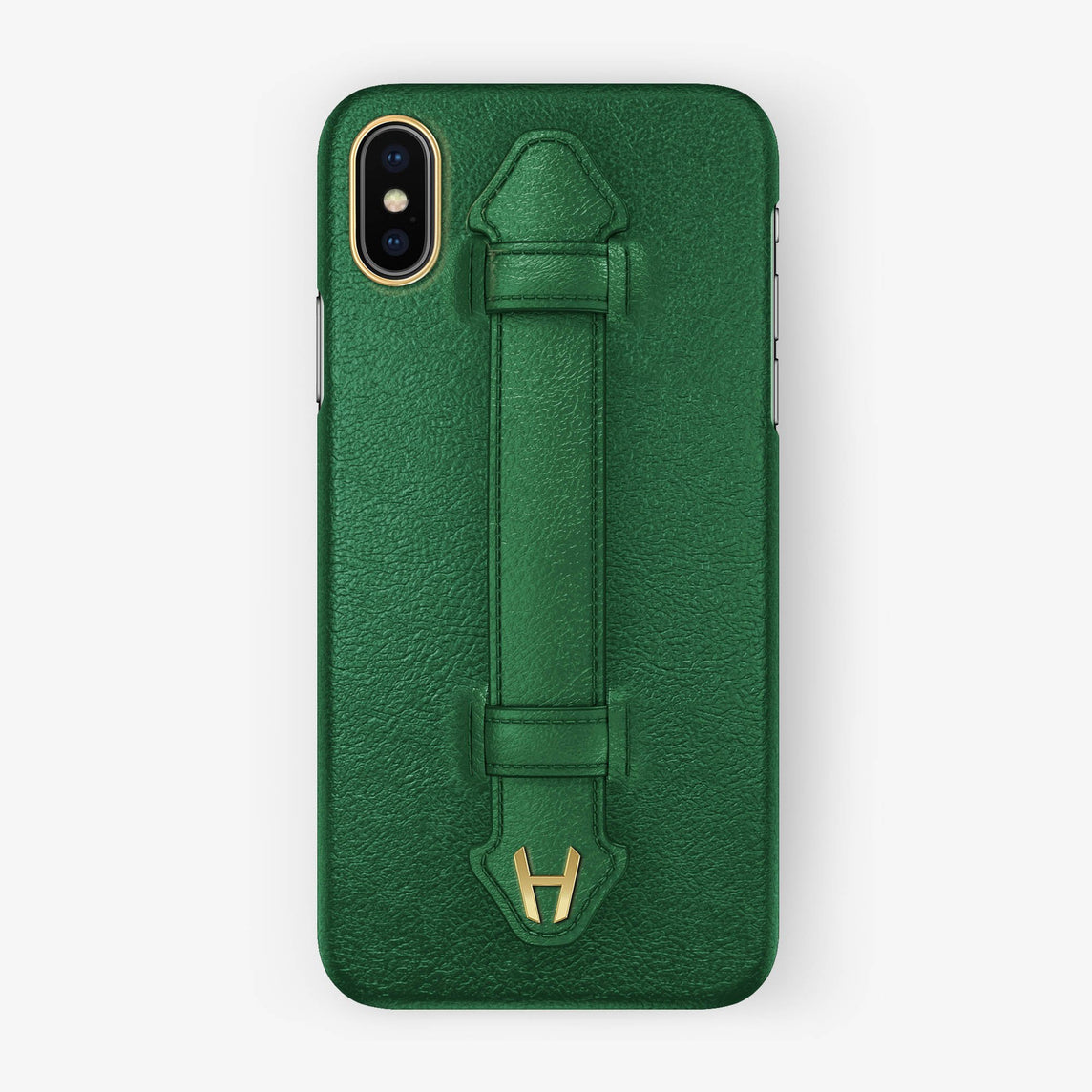 Calfskin Finger Case iPhone X/Xs | Green - Yellow Gold without-personalization