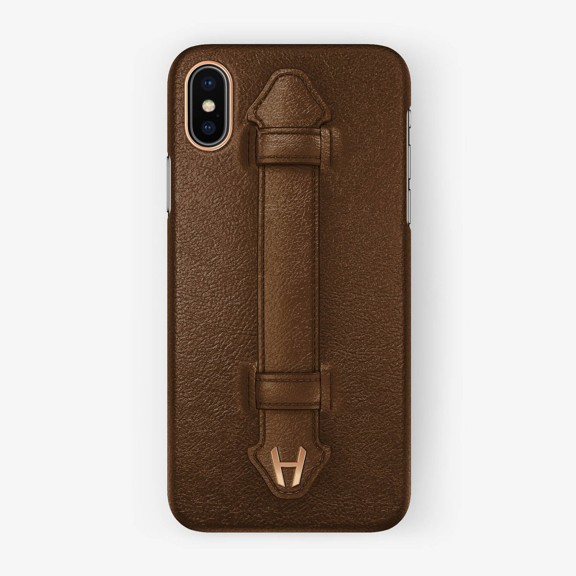 Calfskin Finger Case iPhone X/Xs | Brown - Rose Gold without-personalization