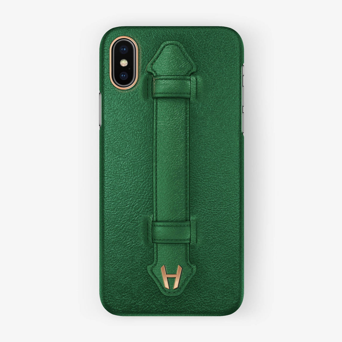 Calfskin Finger Case iPhone X/Xs | Green - Rose Gold without-personalization