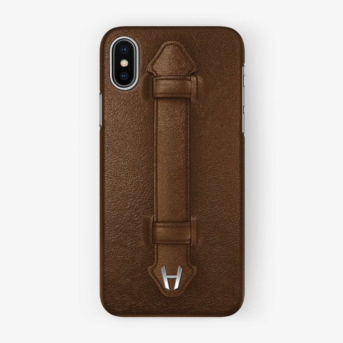 Calfskin Finger Case iPhone Xs Max | Brown - Stainless Steel without-personalization