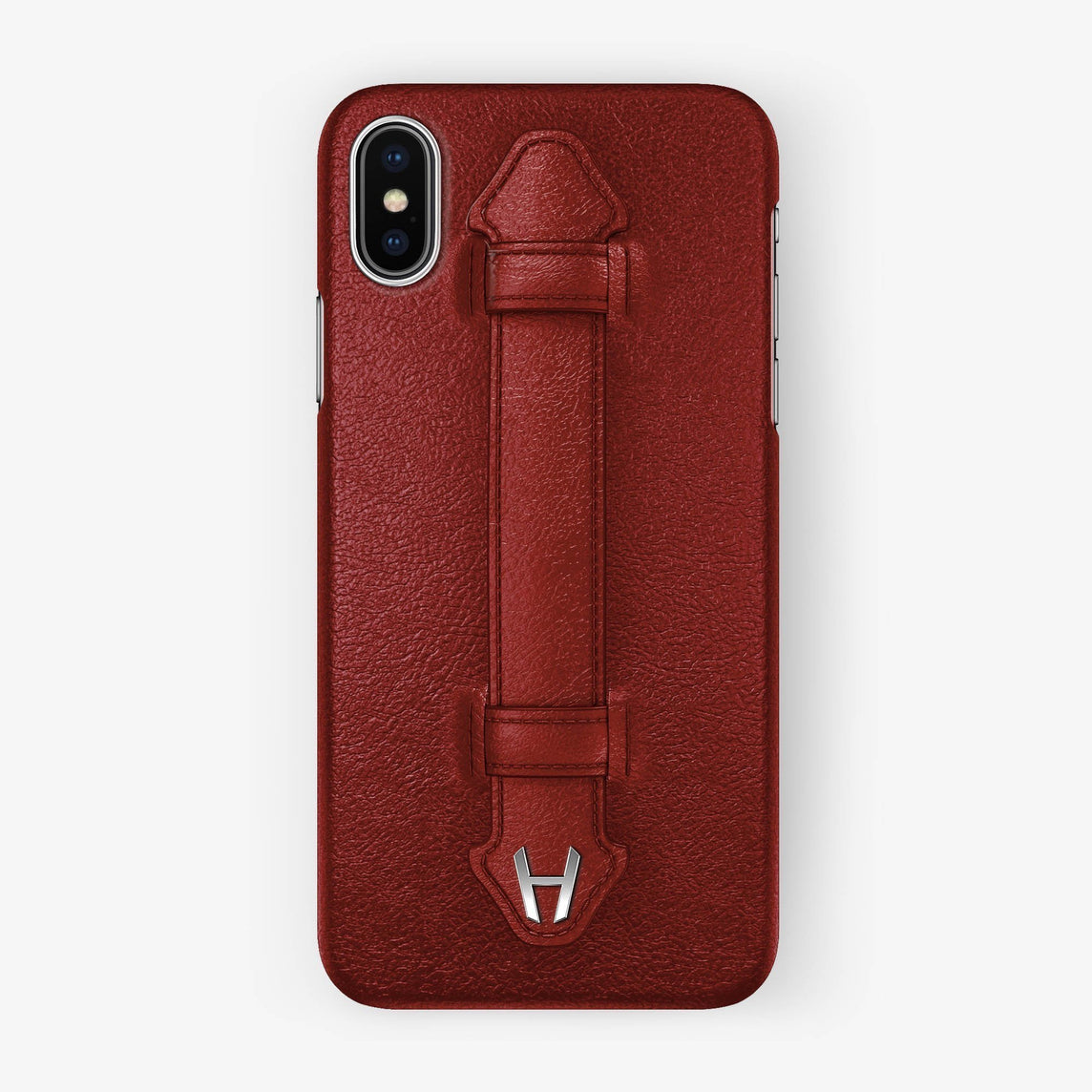 Calfskin Finger Case iPhone Xs Max | Red - Stainless Steel without-personalization