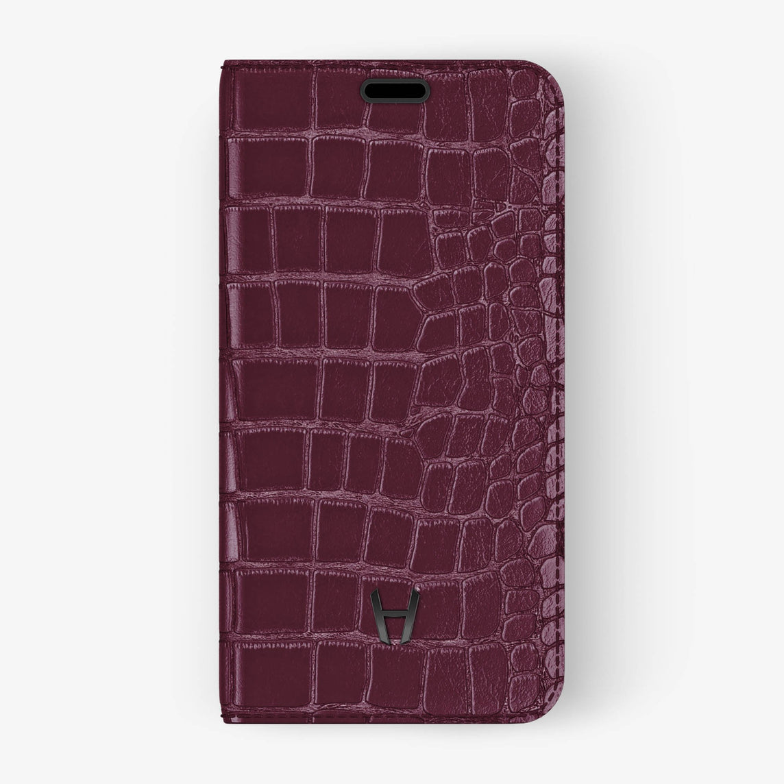 Alligator [iPhone Folio Case] [model:iphone-xr-case] [colour:burgundy] [finishing:black]