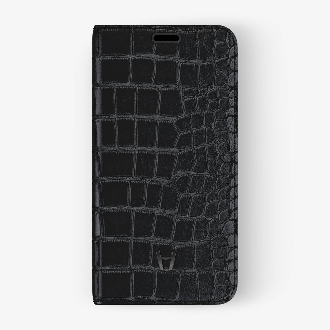 Black Alligator iPhone Folio Case for iPhone X finishing black - Hadoro Luxury Cases