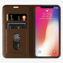 Brown Alligator iPhone Folio Case for iPhone X finishing black - Hadoro Luxury Cases