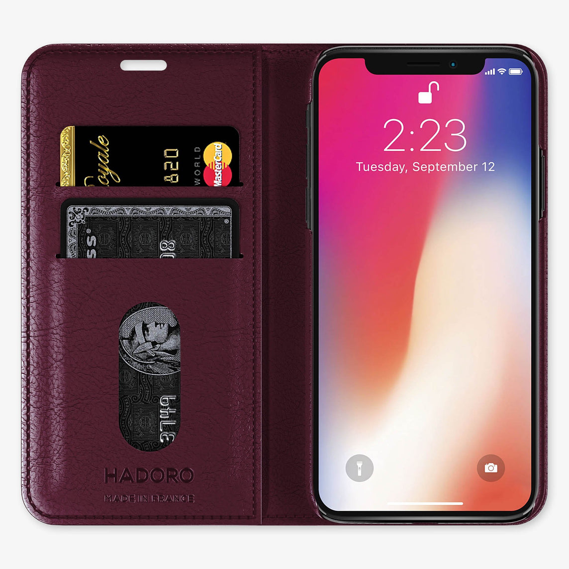 Burgundy Alligator iPhone Folio Case for iPhone X finishing black - Hadoro Luxury Cases