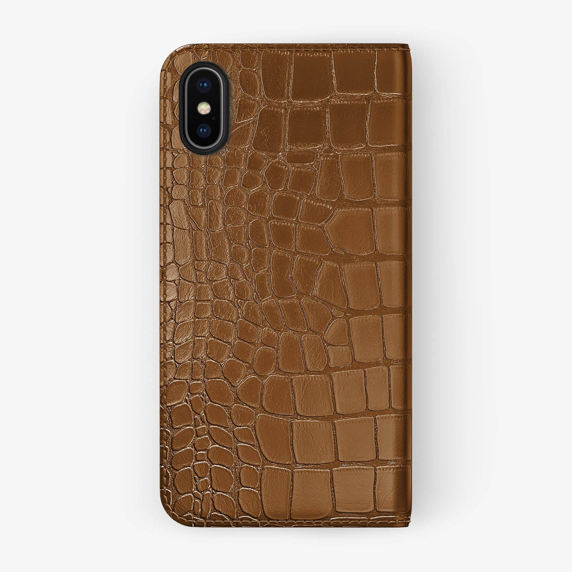 Cognac Alligator iPhone Folio Case for iPhone X finishing black - Hadoro Luxury Cases