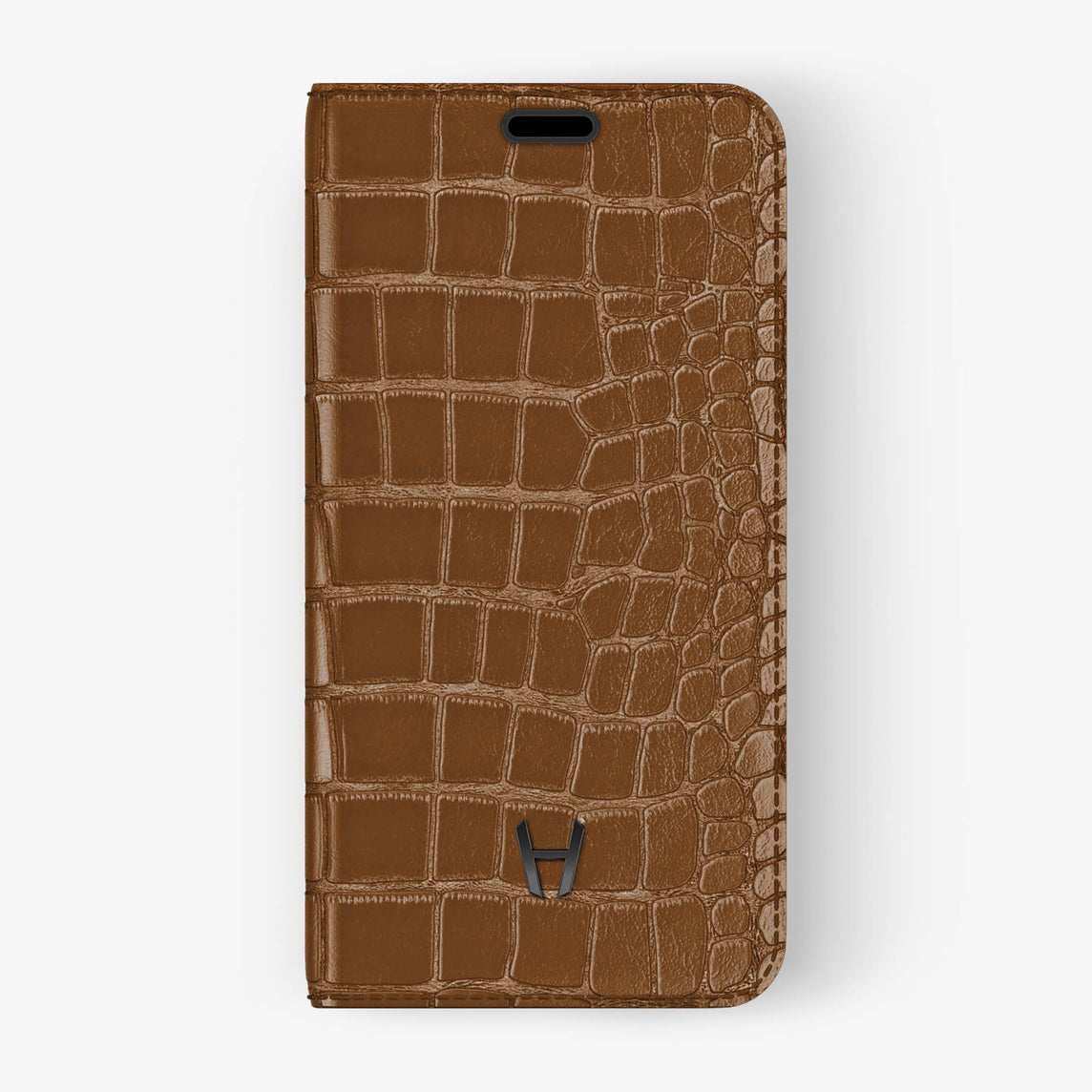 Alligator Folio Case iPhone Xs Max | Cognac - Black without-personalization