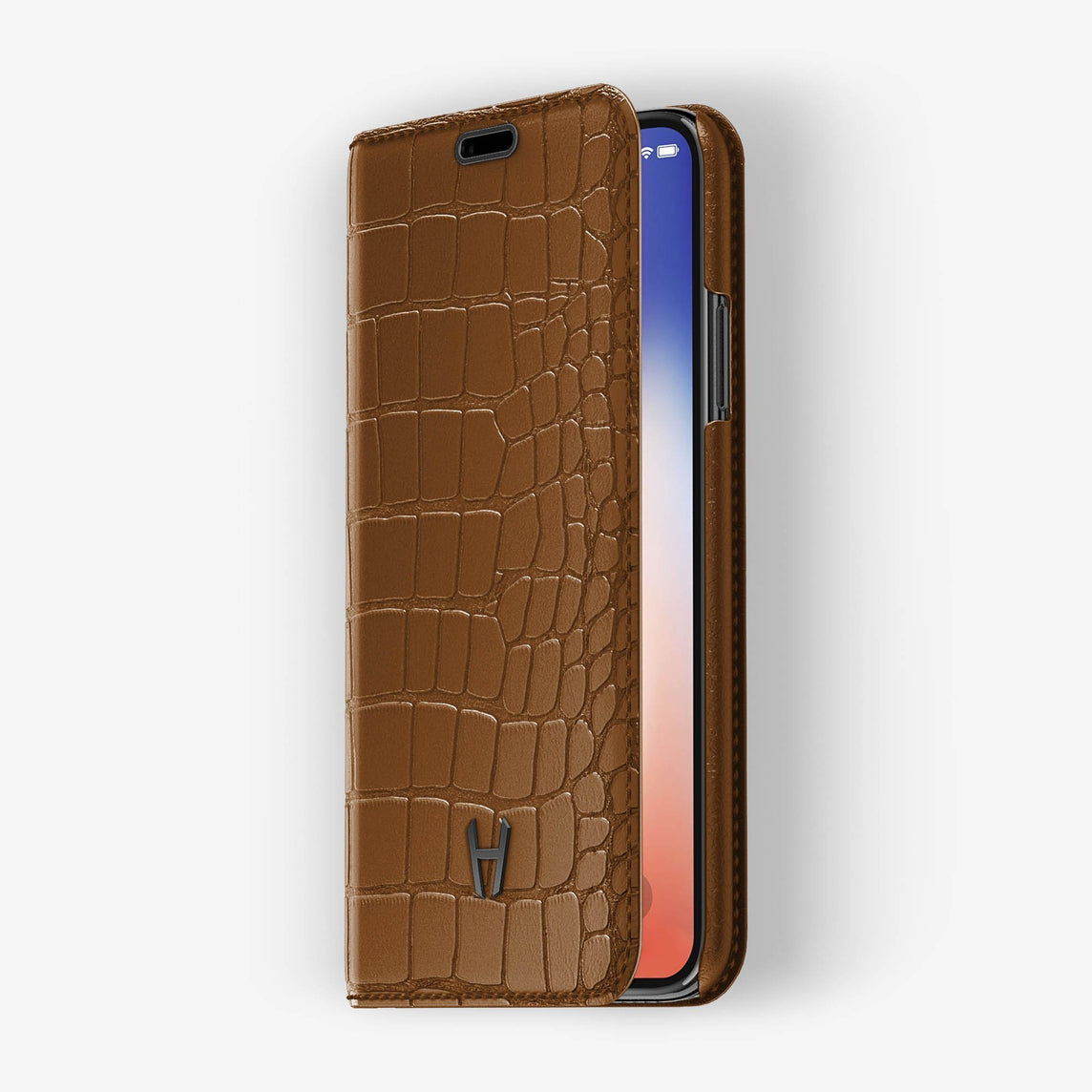 Cognac Alligator iPhone Folio Case for iPhone XS Max finishing black - Hadoro Luxury Cases