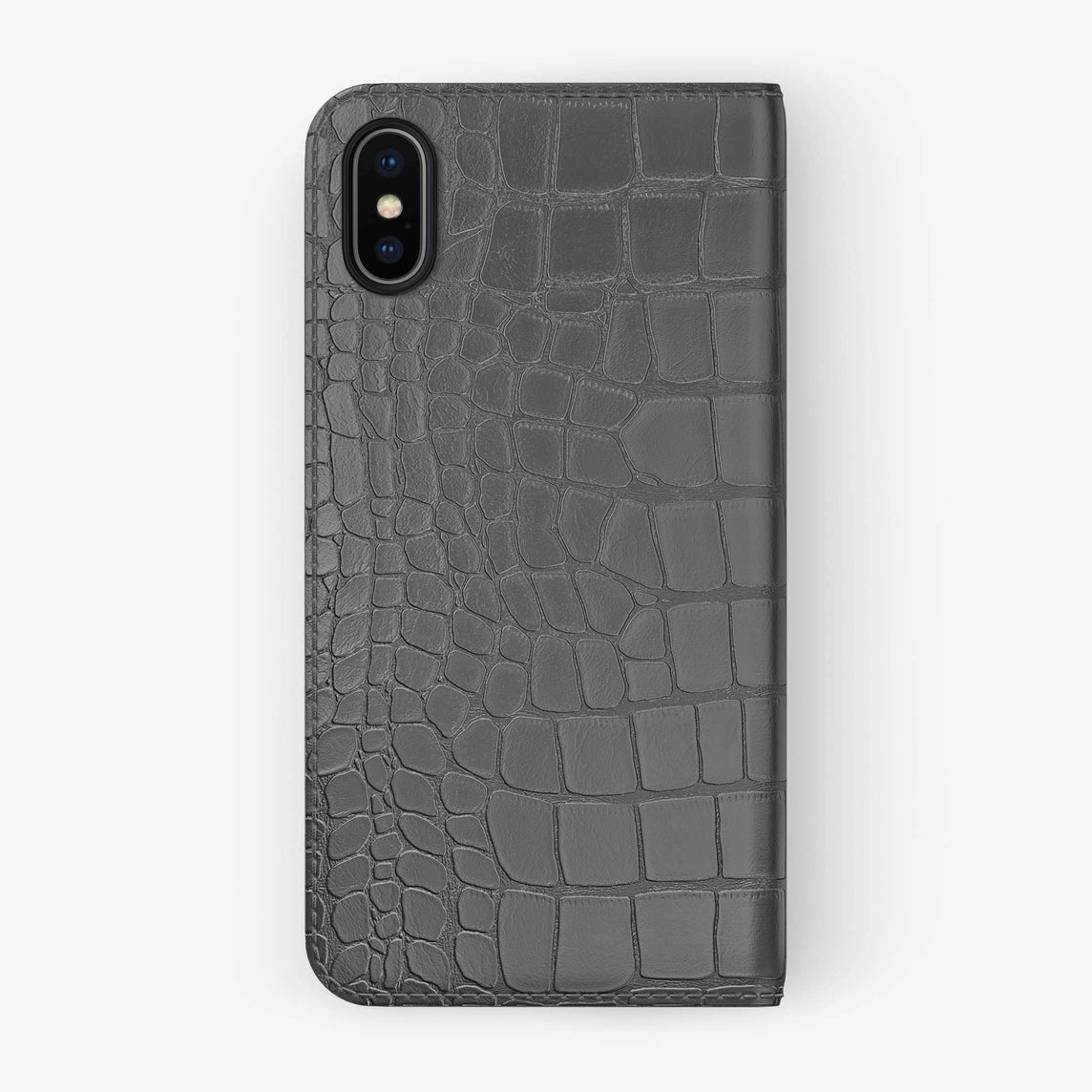 Alligator Folio Case iPhone Xs Max | Grey - Black without-personalization