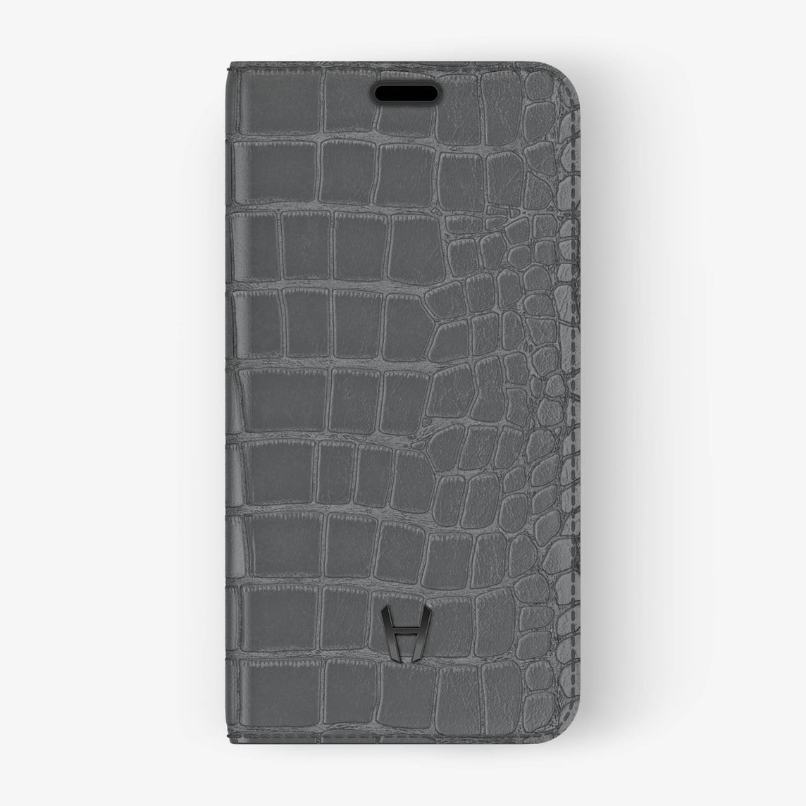 Alligator Folio Case iPhone X/Xs | Grey - Black without-personalization