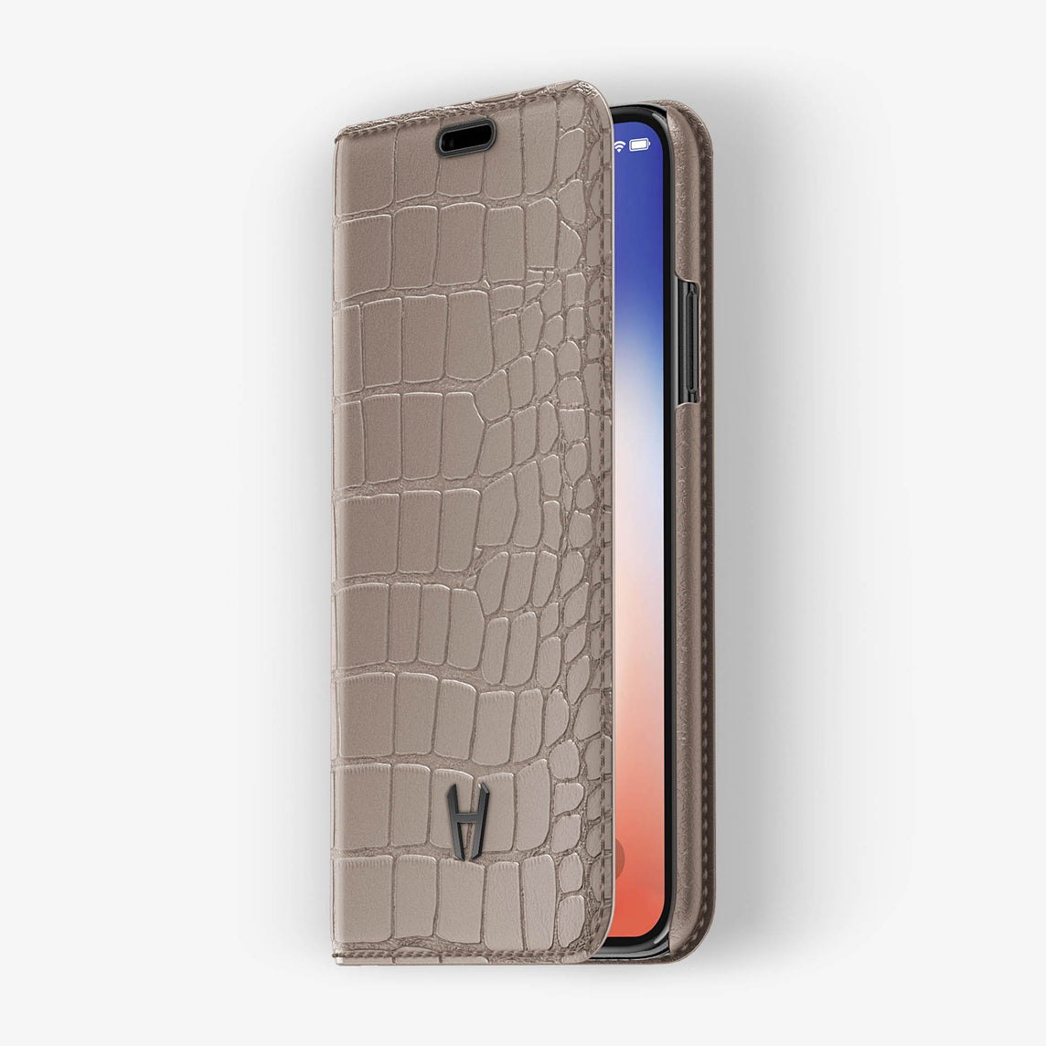 Alligator Folio Case iPhone X/Xs | Latte - Black without-personalization