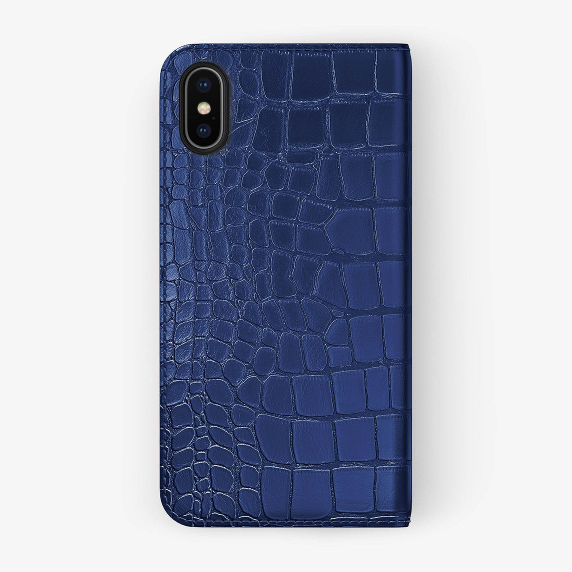 Alligator Folio Case iPhone X/Xs | Navy Blue - Black without-personalization