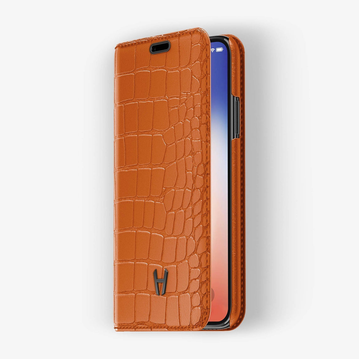 Orange Alligator iPhone Folio Case for iPhone XS Max finishing black - Hadoro Luxury Cases