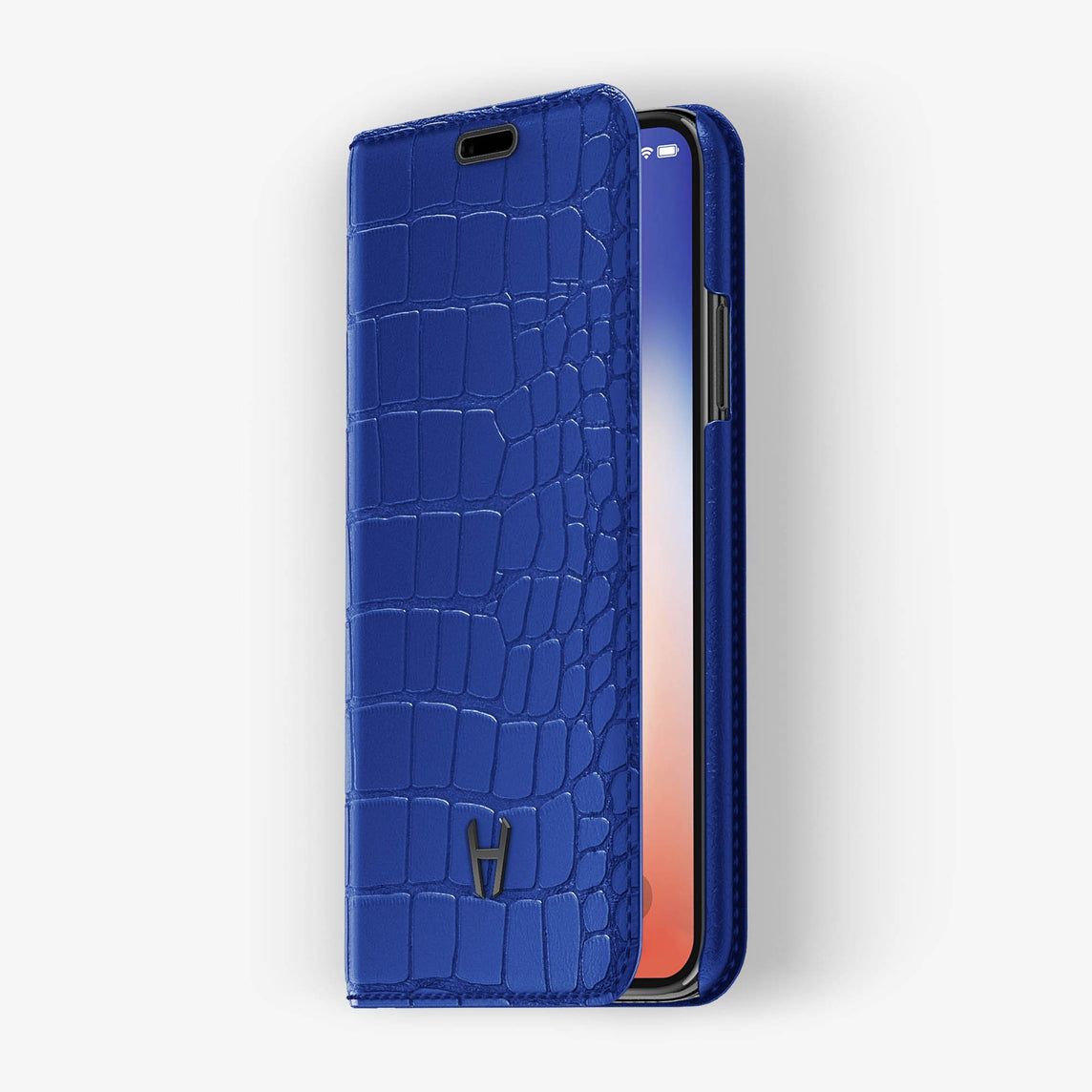 Peony Blue Alligator iPhone Folio Case for iPhone X finishing black - Hadoro Luxury Cases