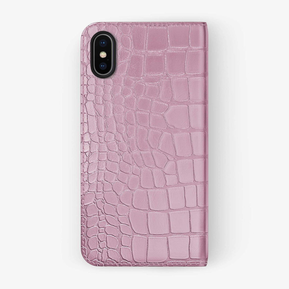 Alligator Folio Case iPhone Xs Max | Pink - Black without-personalization