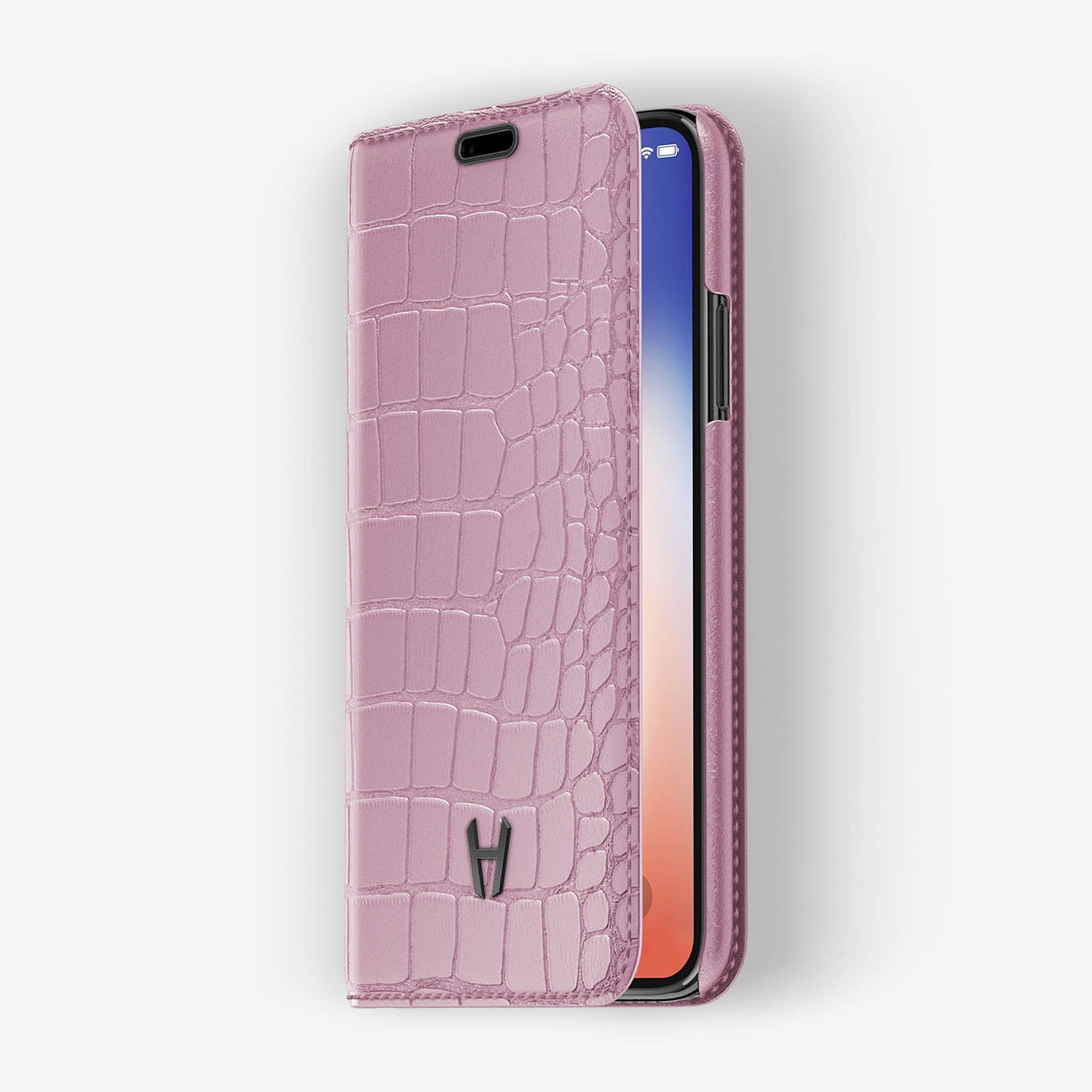 Pink Alligator iPhone Folio Case for iPhone XS Max finishing black - Hadoro Luxury Cases