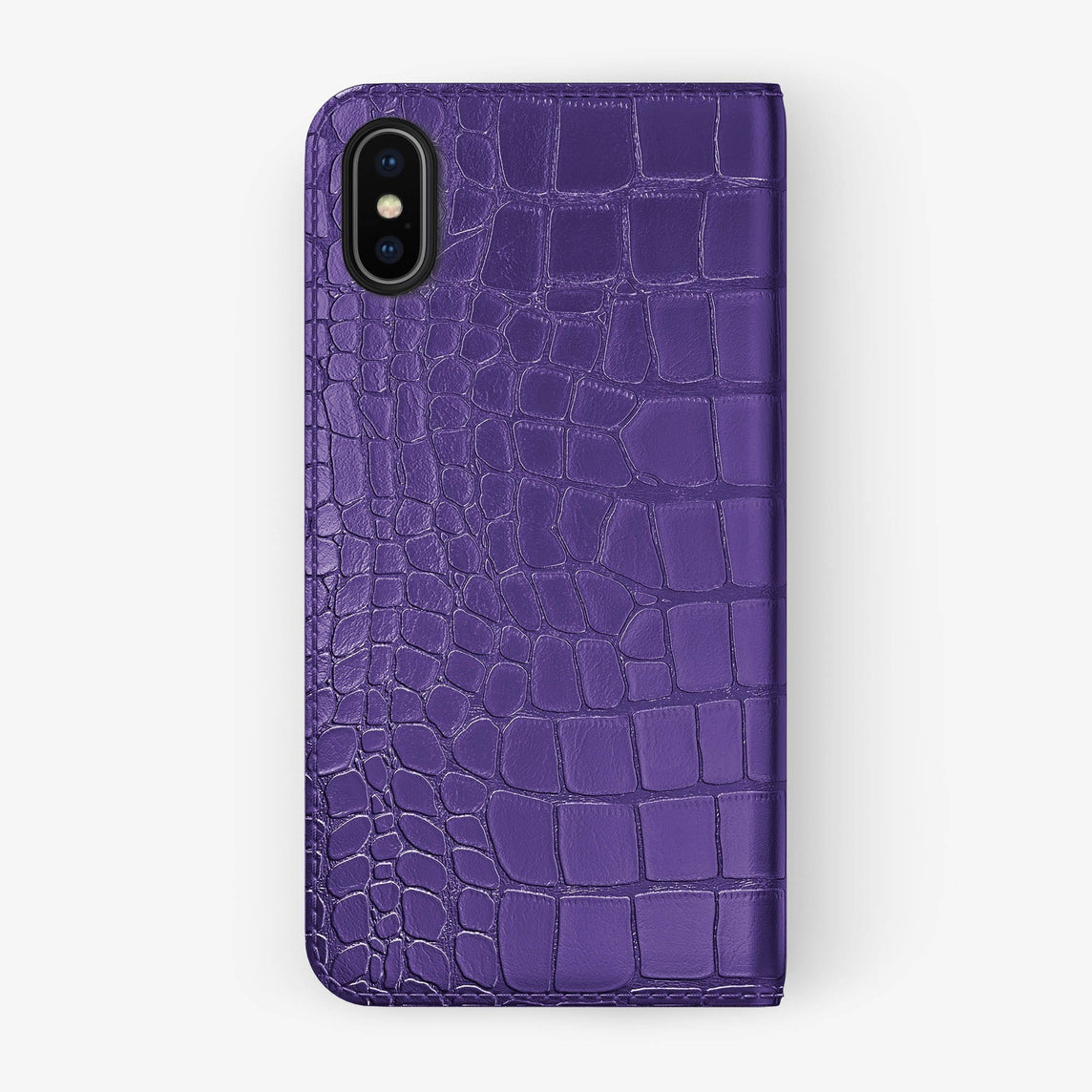 Purple Alligator iPhone Folio Case for iPhone X finishing black - Hadoro Luxury Cases