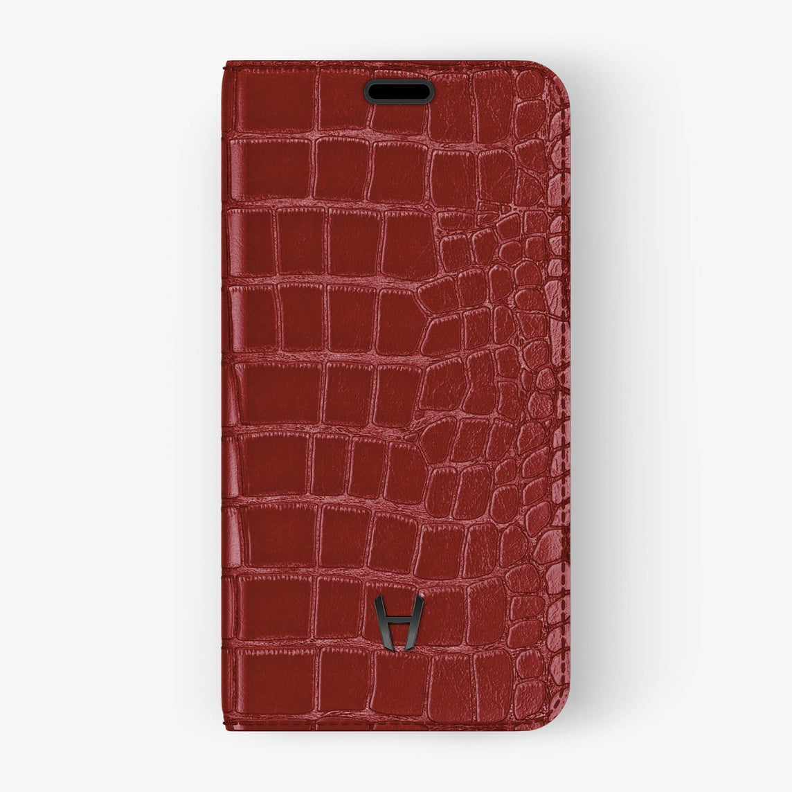 Red Alligator iPhone Folio Case for iPhone XS Max finishing black - Hadoro Luxury Cases