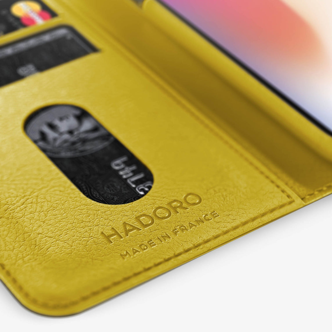 Yellow Alligator iPhone Folio Case for iPhone XS Max finishing black - Hadoro Luxury Cases
