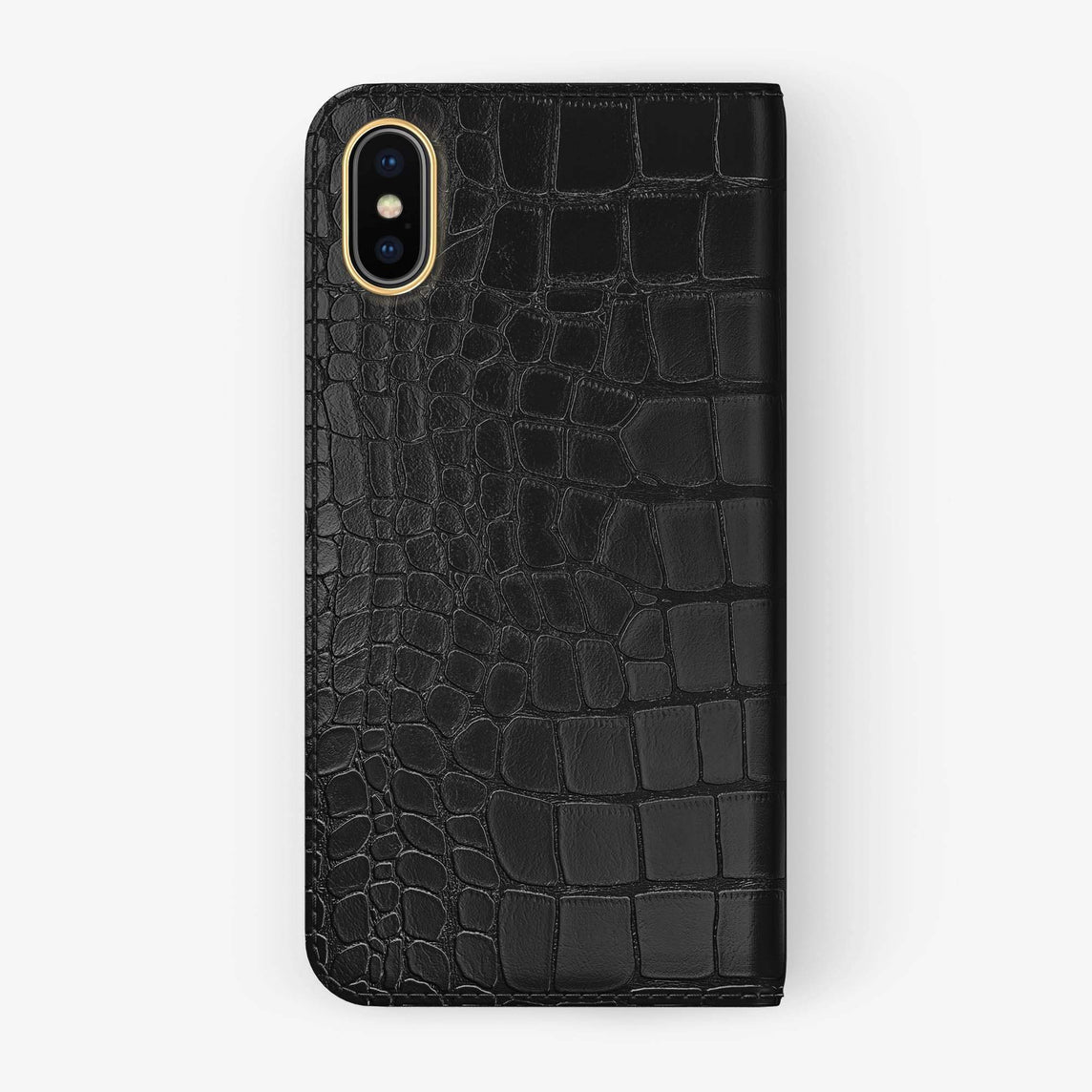 Black Alligator iPhone Folio Case for iPhone XS Max finishing yellow gold - Hadoro Luxury Cases