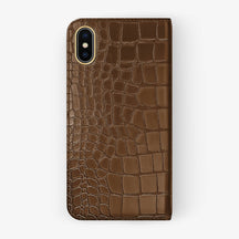 Brown Alligator iPhone Folio Case for iPhone X finishing yellow gold - Hadoro Luxury Cases